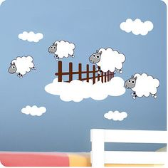 Childrens Bedroom Counting Sheep Wall Stickers -Vinyl Baby Art Decal Home Decor Baby Room Sheep, Sheep Nursery, Lamb Nursery, Baby Room Wall Stickers, Kids Wall Decals, Nursery Wall Decals, Kids Room Art, Baby Art, Counting Sheep
