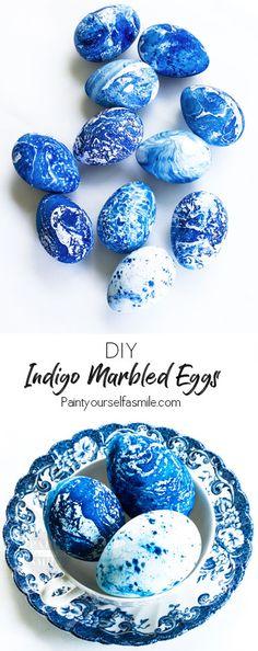 Really Fun DIY Indigo Marbled Eggs! Easy Easter Egg Craft Tutorial