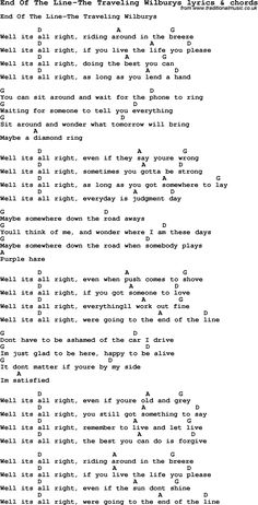 Love Song Lyrics for: End Of The Line-The Traveling Wilburys with chords for Ukulele, Guitar Banjo etc. Love Song Lyrics for: End Of The Line-The Traveling Wilburys with chords for Ukulele, Guitar Banjo etc. Guitar Chords And Lyrics, Guitar Chords For Songs, Guitar Sheet Music, Love Songs Lyrics, Guitar Tips, Uke Songs, Ukulele Tabs, Music Music, Ukulele Chords