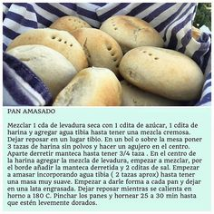 PAN AMASADO / Virginia de maria Chilean Recipes, Chilean Food, Cooking Recipes, Healthy Recipes, No Bake Desserts, Sandwiches, Good Food, Tasty, Nutrition