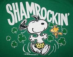 Snoopy Wearing Shamrock Shorts With Woodstock Flying Nearby With Caption Saying - Shamrockin' Peanuts Cartoon, Peanuts Snoopy, Charlie Brown Und Snoopy, Snoopy Und Woodstock, St. Patricks Day, Snoopy Wallpaper, Snoopy Quotes, Joe Cool, St Paddys Day