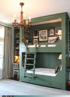 Shared bedroom built in bunk beds - Continued! Shared bedroom built in bunk be Bunk Beds Built In, Kids Bunk Beds, Boys Bunk Bed Room Ideas, Built In Beds For Kids, Painted Bunk Beds, Corner Bunk Beds, Lofted Beds, Cool Bedrooms For Boys, Bunk Rooms