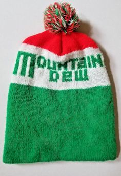791c5c3af95 Vintage Mountain Dew Stocking Hat Cap USA Acrylic Red Green White   MountainDew  Cap
