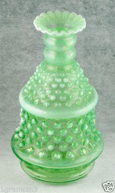Vintage Paulux Green Opalescent Glass Hobnail Lamp Base by Fenton Glows 1940 | eBay