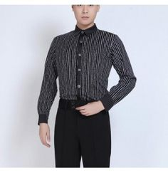 998961505 Black and white striped long sleeves stand collar men's male competition latin  salsa dance shirts tops