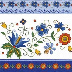 Polish Art Center - Polish Folk Art Luncheon Napkin Kashubian Folk 8 (package of Polish Embroidery, Hungarian Embroidery, Folk Embroidery, Embroidery Designs, Bordado Popular, Polish Folk Art, Scandinavian Folk Art, Tile Murals, Fused Glass Art