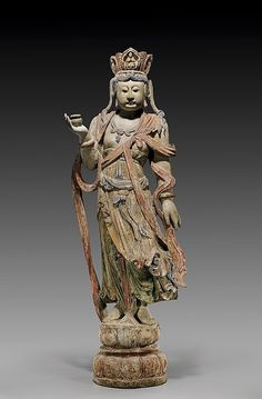 CHINESE CARVED WOOD STANDING GUANYIN