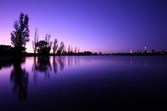 Purple sky and water