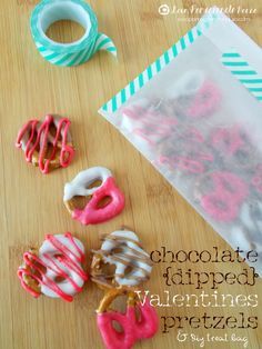 Chocolate Dipped Valentines Pretzels & DIY Treat Bag