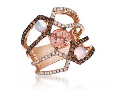 Ring in 14k Strawberry gold ring with 0.74 ct. t.w. Chocolate and Vanilla diamonds, 0.88 ct. t.w. Peach morganite, and 0.4 ct. t.w. Neopolitan opals, $4,897; Le Vian