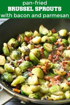 Pan-Fried Brussel Sprouts with Bacon, Garlic and Parmesan