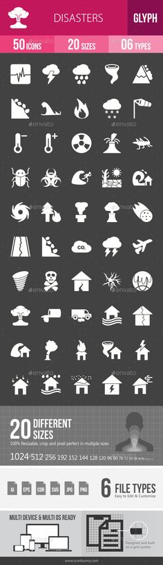 Disasters Glyph Inverted Icons