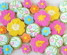 Tropical Luau Flower Cookies