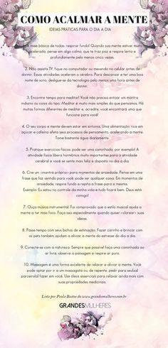 Como acalmar sua mente: uma lista com ideias práticas para diminuir a ansiedade e a hiperatividade no dia a dia | Grandes Mulheres