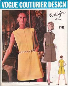 60s GALITZINE Mini Dress Pattern Vogue Couturier Design 2162 Vintage Sewing Pattern Size 12 Bust 34 inches
