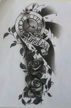 And roses tattoo designs winged clock and roses tattoo desig Octopus Tattoo Design, Clock Tattoo Design, Tattoo Design Drawings, Tattoo Sleeve Designs, Tattoo Sketches, Tattoo Clock, Back Tattoo, Black Ink Tattoos, Tatoo