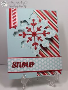 Stampin' Up! Letterpress Winter Snowflake Flip Card for Stamping and Blogging | Stamp With Amy K