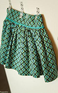 perfect rokje : tailleband, elastiek achter in tailleband, paspel, gevoerd, rimpelrokje