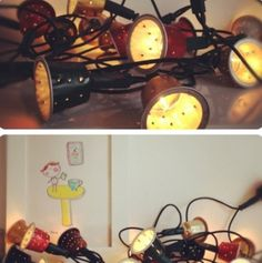 DIY Glowing Garland of Coffee Capsules.  Great ways to reuse K-cups when they are empty.  This seems so simple and fun!