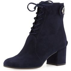 Gianvito Rossi Finlay Mid Suede Lace-Up Bootie ($1,275) ❤ liked on Polyvore featuring shoes, boots, ankle booties, scarp, denim, lace up booties, bootie boots, chunky heel ankle boots, suede ankle boots and suede lace up booties