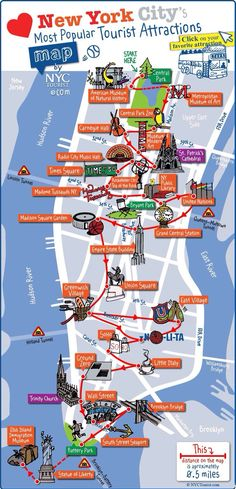 Manhattan (NYC) detailed map of most popular tourist attractions. Detailed map of most popular tourist attractions of Manhattan, NYC. Voyage Usa, Voyage New York, New York Vacation, New York City Travel, Map Of New York City, Map Of Nyc, Ny Map, New York Maps, Tourist Map