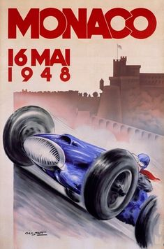 So COOL! Grand Prix, Monaco, 1948, Vintage Poster. Perfect for the man pad! Click to find out more! #autoart