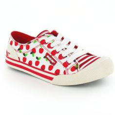 Buy the Rocket Dog Jazzin Apple Tart Womens Flat Lace-Up Trainer Pumps in Red & White at Scorpio Shoes. Come and see are great range of womens casual shoes from Rocket Dog Flat Lace Up Shoes, Lace Up Trainers, Plimsolls, Red Apple, Womens Flats, Casual Shoes, Red And White, Fashion Shoes, Pumps
