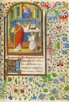 Priest and Acolyte before an Altar, from a Book of Hours, Rome use, in Latin and French | Northern France or Belgium, Flanders | ca. 1445 | The Morgan Library & Musuem