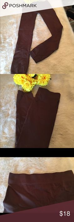 Brown Leggings Perfect legging by Pink Rose are brown. Size M   90% nylon 20% spandex. Never worn---- new but no tags Pink Rose Jeans