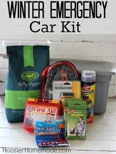 Check out this DIY Winter Emergency Car Kit from @Hoosier Homemade. Using a small plastic storage bin, fill it with the following items: non-clumping Kitty Litter, Booster Cables, Fix-a-Flat, heated emergency blanket, Hand Warmers, First Aid Kit and an LED flashlight.
