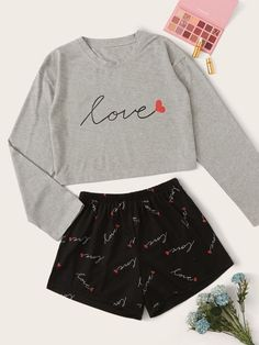 Shop Letter & Heart Print PJ Set at ROMWE, discover more fashion styles online. Really Cute Outfits, Cute Lazy Outfits, Stylish Outfits, Cool Outfits, Cute Clothes For Teens, Girls Fashion Clothes, Teen Fashion Outfits, Cute Fashion, Cute Pajama Sets