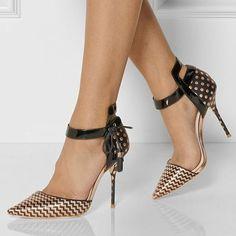 Shoespie Golden Printed Stiletto Heels