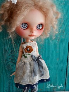 """Blythe doll outfit *Beaucoup de charme"""" OOAK vintage embroidered dress"""