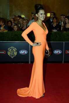 Local designer I went to Uni with Silvana Tedesco gets a rave review for this red carpet gown worn by Jasmine Putra at the 2012 Brownlow's