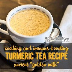 "Turmeric tea or ""golden milk"" is an ancient immune-boosting remedy that contains turmeric, cinnamon, ginger, and pepper in a milk/broth base."
