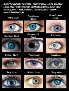 Blue eye color chart with pictures to best describe your characters eye color Blue Eye Facts, Eye Color Facts, Facts About Blue Eyes, Blue Eyed People Facts, Green Eyes Facts, Pretty Eyes, Beautiful Eyes, Blue Eye Color, Book Writing Tips
