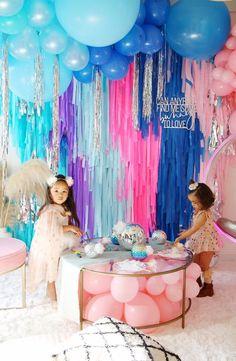 4 Plastic Tablecloth Fringe Backdrop, Vynl fringe, flag tape, flagging tape, photo back Balloon Decorations, Birthday Decorations, Birthday Party Themes, Girl Birthday, Birthday Backdrop, Birthday Images, Streamer Backdrop, Streamers, Crepe Paper Backdrop