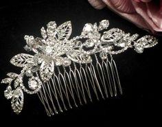 Michela- New vintage vine Swarovski crystal wedding comb - SALE