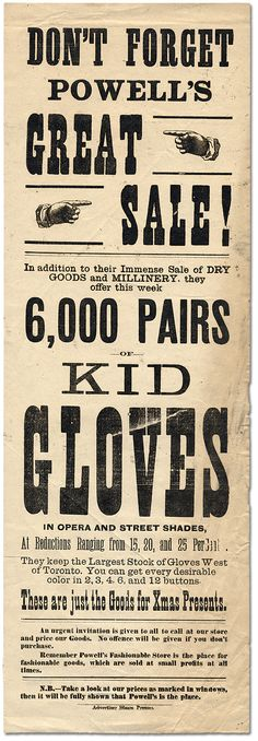 Advertisement for Powells Great Sale of Dry Goods, Millinery, and 6,000 pairs of kid gloves