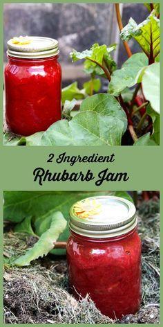 Simple Rhubarb Jam - Homemade Rhubarb Jam Rhubarb and Sugar. That& all you need to make this fresh tasting rhubarb jam. Rhubarb Jelly, Rhubarb Freezer Jam, Rhubarb Jam Recipes Canning, Strawberry Rhubarb Jam, Healthy Rhubarb Recipes, Rhubarb Sauce, Rhubarb Recipes No Sugar, Can You Freeze Rhubarb, Frozen Rhubarb Recipes