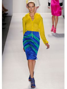 Neon  Ruffian  It was hard to know just where to look when this look came down the runway. The shock of yellow against the blue and green skirt was graphic color blocking at its most extreme.