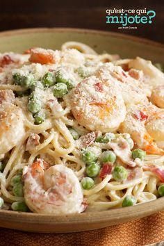 Crevettes à la carbonara #recette Fish Dishes, Pasta Dishes, Main Dishes, Pasta Meals, Best Pasta Recipes, Dinner Recipes, Cooking Recipes, Dinner Ideas, Cooking