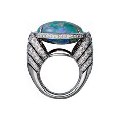 High Jewelry ring High Jewelry <br />Cartier Royal <br />ring, platinum, one 18.24 carat oval-shaped opal, calibrated diamonds, brilliant-cut diamonds.
