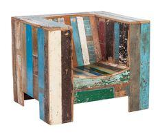 Butaca en madera de teca reciclada Cubo | Westwing Home & Living