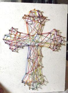 Rainbow Cross Nail / String Art  8 X 11 by kreepykimmy on Etsy, $15.00