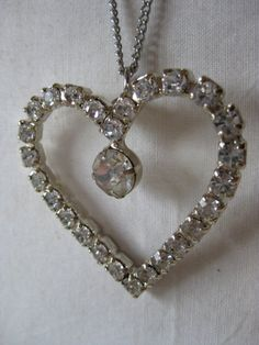 Heart Rhinestone Necklace Silver Clear by vintagejewelryalcove, $14.50
