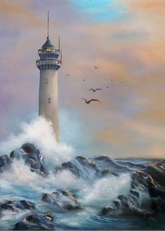 Lighthouse Art Print by Joni McPherson Lighthouse Art Print featuring the painting Lighthouse by Joni McPherson Lighthouse Gifts, Lighthouse Painting, Abstract Landscape, Landscape Paintings, Painting Abstract, Lighthouse Pictures, Largest Waterfall, Types Of Painting, Watercolor Artists