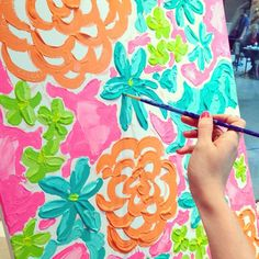 "Live Painting by the Lilly Pulitzer Print Designers - same print as the ""Being Happy"" painting Lily Pulitzer Painting, Lilly Pulitzer Prints, Lilly Pulitzer Patterns, Diy Canvas, Canvas Art, Diy Painting, Diy Art, Art Lessons, Art Drawings"