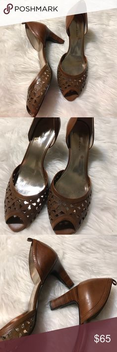 Etienne Aigner brown cut out heels Size 9. 3 inch heel. Cut outs on top. Peep toe. NEW WITHOUT BOX/tag Etienne Aigner Shoes Heels