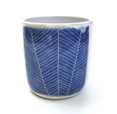 Blue Leaves Ceramic Planter/Cup/Container by lovebugkiko on Etsy